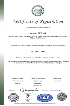 ISO9001 Certificate Exp October 2019